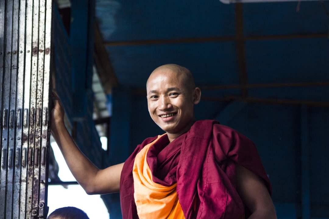 buddhist monks smiling